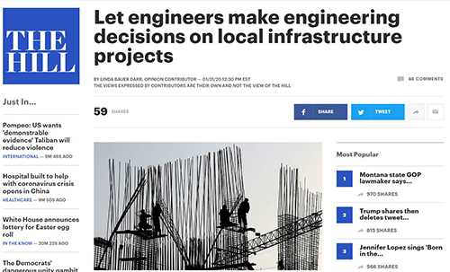 ACEC's Darr Urges Congress to Let Engineers Make Engineering Decisions on Local Infrastructure Projects
