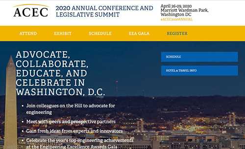 Registration Open for 2020 ACEC Annual Convention and Legislative Summit in Washington, D.C., April 26-29