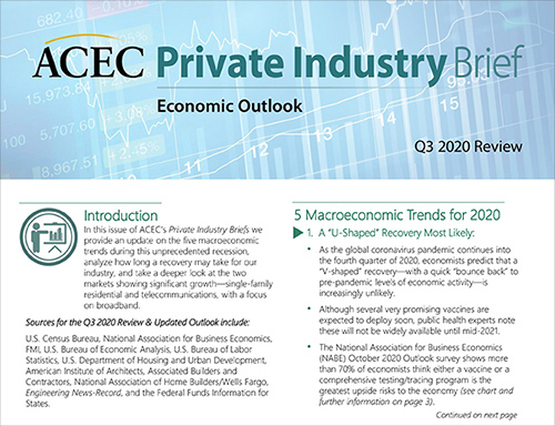ACEC's Private Industry Briefs Q3 2020 Economic Review Available Now
